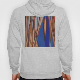 Retro Blues Browns Oranges Line Design with Pastels by annmariescreations Hoody