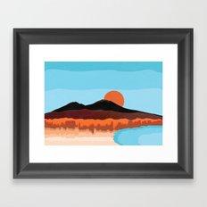 Landscape of Naples with volcano Vesuvio Framed Art Print