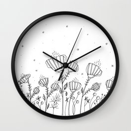 Doodle Flowers Illustration Wall Clock