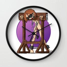 Redhaired Slavegirl in stocks Wall Clock