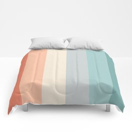 striped color pattern - red , orange, grey, green, Comforters
