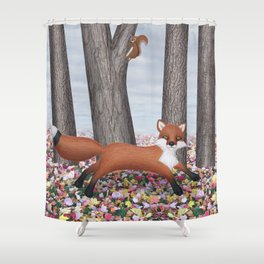 fox and squirrel Shower Curtain