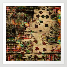 Abstract Vintage Playing cards  Digital Art Art Print