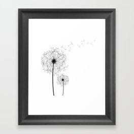 Black And White Dandelion Sketch Framed Art Print