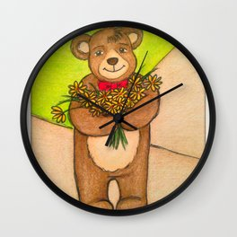 FLOWERS FOR YOU - Adorable Little Teddy Bear Flowers Floral Cute Colorful Original Illustration Wall Clock