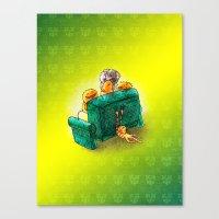 sofa Canvas Prints featuring Family sofa by Bakal Evgeny