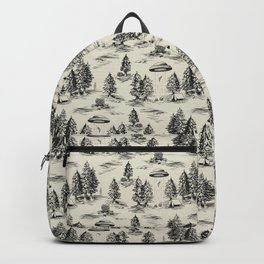 Black Alien Abduction Toile De Jouy Pattern Backpack