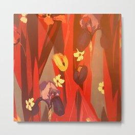 Autumn Floral Rustic Red Falling Leaves Watercolor Metal Print