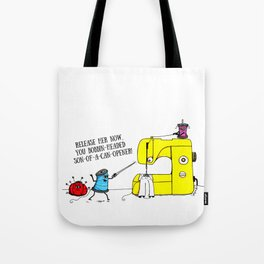 Evil Sewing Machine Cartoon Tote Bag