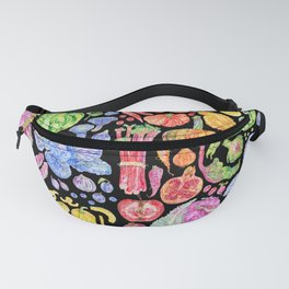 Rainbow of Fruits and Vegetables Dark Fanny Pack