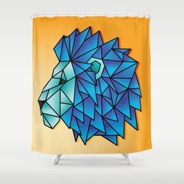 Triangular Abstract Lion in Shades of Blue Shower Curtain