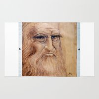 da vinci Area & Throw Rugs featuring Leonardo Da Vinci by Michael Cu Fua