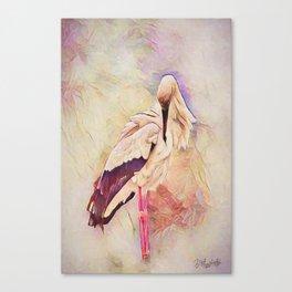 Heron Pinked Canvas Print