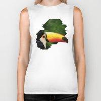 toucan Biker Tanks featuring toucan by gazonula