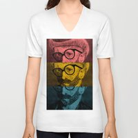 van gogh V-neck T-shirts featuring Hipster Van Gogh by Josrick