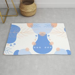 Abstract Shapes & Leaves in Blue Rug