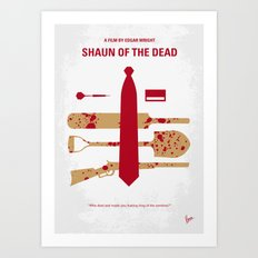No349 My Shaun of the Dead minimal movie poster Art Print