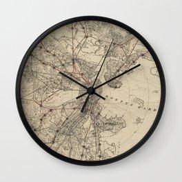 Vintage Map of Boston Railroads (1876) Wall Clock