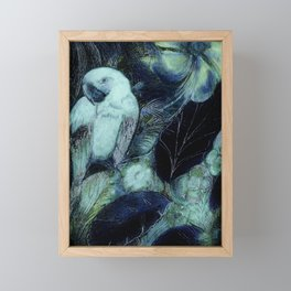 BLUE PARROT MACAW TROPICAL DECO DESIGN ART PRINT Framed Mini Art Print