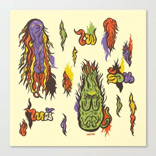Fire monsters Canvas Print