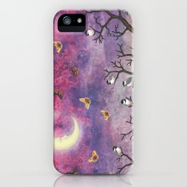 chickadees and io moths in the moonlit sky iPhone Case