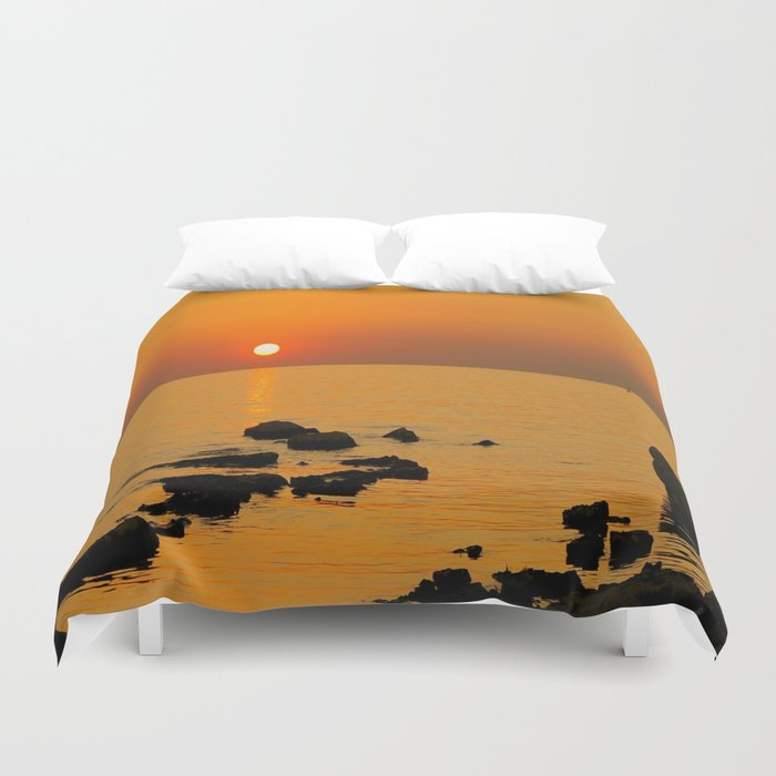 evening beach Duvet Cover