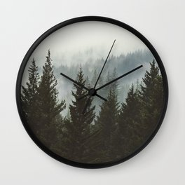 Forest Fog Mountain IV - Wanderlust Nature Photography Wall Clock