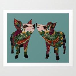 pig love jade Art Print