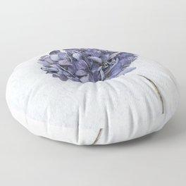 Dried Blue Hydrangea Floor Pillow