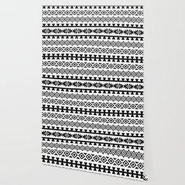Aztec Stylized Lg Pattern II BW Wallpaper