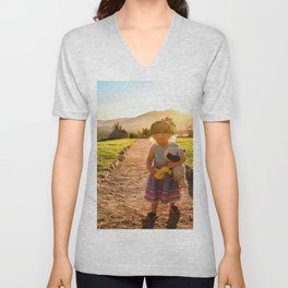 A Girl and Her Friends Unisex V-Neck