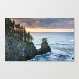 The Rigid Coastline in the Samuel H. Boardman State Scenic Corridor at Sunset Canvas Print