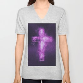 Christian cross symbol. Abstract night sky background. Unisex V-Neck