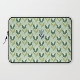 Field of Tulips green background Laptop Sleeve