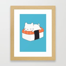 Kawaii Cute Sushi Cat Framed Art Print