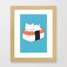 Kawaii Cute Sushi Cat Framed Art Print