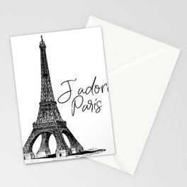 TYPOGRAPHIC ART - J'adore Paris, Paris, Typography Wall Art, Printable Art Stationery Cards