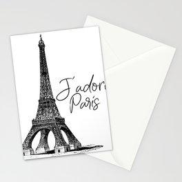 TYPOGRAPHIC ART - J'adore Paris, Paris, Typography Wall Art, Printable Art Stationery Cards