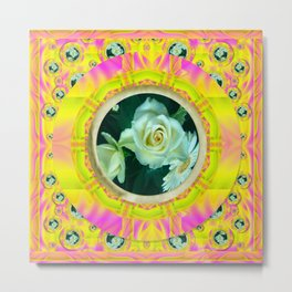 Roses in rainbows make us happy Metal Print
