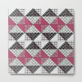 Beautiful red black white patchwork . Metal Print