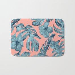 Island Life Teal on Coral Pink Bath Mat