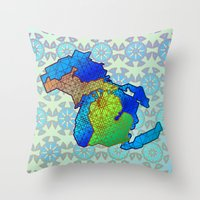 michigan Throw Pillows featuring Michigan by Dusty Goods