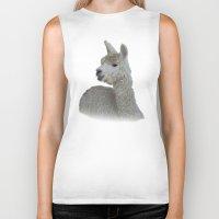 alpaca Biker Tanks featuring White Alpaca by Deborah Janke