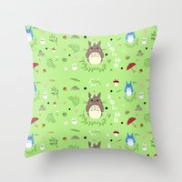 ghibli Throw Pillows featuring Ghibli pattern by Sophie Eves