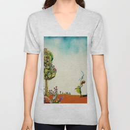 African American Masterpiece 'Tree of Life' by Benny Andrews Unisex V-Neck