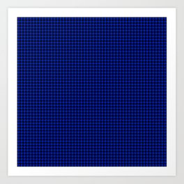 Cobalt Blue and Black Houndstooth Check Pattern Art Print
