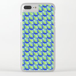 Pyromidal pattern of blue squares and striped green triangles. Clear iPhone Case