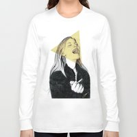 blondie Long Sleeve T-shirts featuring Smiling Blondie by Coco Dávez