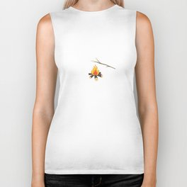 Campfire with marshmallows Biker Tank