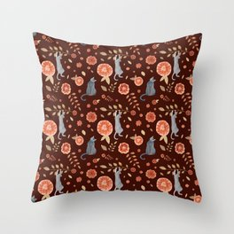 Flowers and climbing cats Throw Pillow
